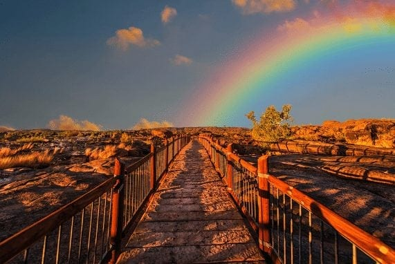 Path on a bridge leading to rainbow
