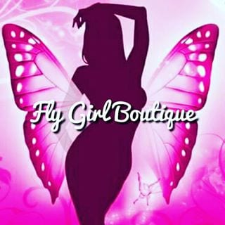 Fly Girl Boutique & lavish tags, logo in purple
