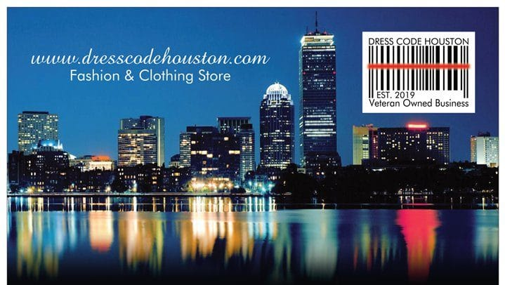 Dress Code Houston, flyer with TX skyline
