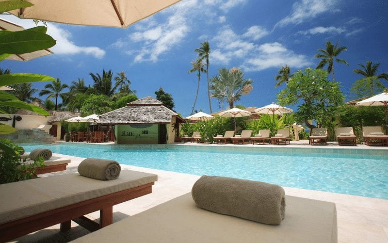 Travel, resort poolside
