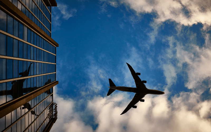 Travel, airplane in sky