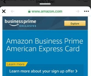 Business Resources, Cell phone with Amazon business cred website on the screen