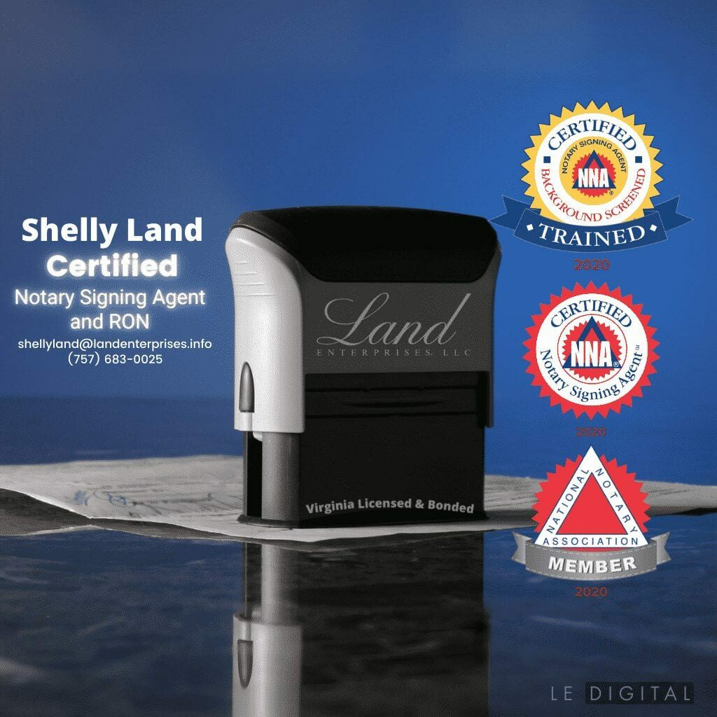 Remote Online Notary, Land Enterprises, LLC logo on notary stamp, desk