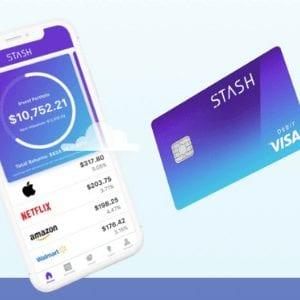 Business Resources, Stash logo, purple debit card